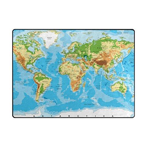 ALAZA U Life World Map Large Area Rug Runner Floor Mat Carpet for Kids Classroom Entrance Way Doorway Living Room Bedroom 63 x 48 & 80 x 58 Inch 5.3 x 4 & 6.6 x 4.8 Feet