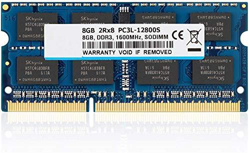 BPX 8 GB de RAM DDR3L / 1600MHz DDR3 SODIMM PC3L / PC3-12800 2Rx8 1,35 V / 1,5 V CL11 204 Pin No ECC sin búfer módulo de Memoria portátil portátil para Mac, Intel y AMD Sistema