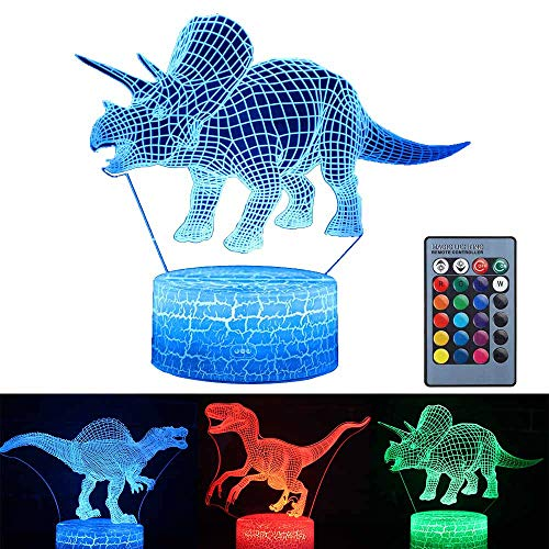 3 Pattern 16 Colors Changing Dinosaur Night Light,3D Illusion Lamp Best Dinosaur Gifts Dinosaur Toys for Boys Girls Birthday Christmas Gifts