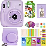 Fujifilm Instax Mini 11 Camera with Fujifilm Instant Mini Film (20 Sheets) Bundle with Deals Number One Accessories Including Carrying Case, Color Filters, Photo Album, Stickers + More (Lilac Purple)