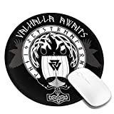 Personalized Mouse Pad Round Mouse Pad Best Mouse Pad Ergonomic Mouse Pad-Blue Boat Warship of The Vikings Drakkar On Fire and Norse Runes Black Warrior Flag