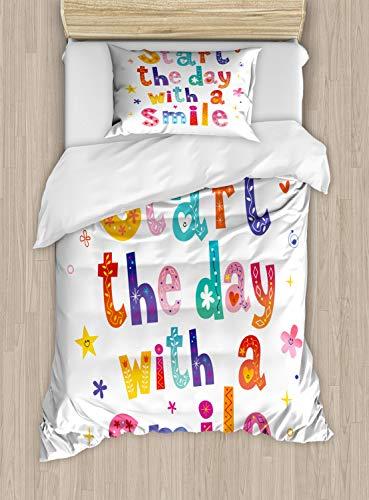 ABAKUHAUS Glimlach Dekbedovertrekset, Begin de dag met een glimlach, Decoratieve 2-delige Bedset met 1 siersloop, 130 cm x 200 cm, Veelkleurig