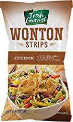 Our Fresh Gourmet won ton strips authentic flavor comes in 1 lb bag. Also available in 3.5 ounce. Our won ton bring Lightly salted with a crispy, bubbly texture TOSS ON BEFORE SERVING - add a crunch to salads, vegetable and more. Our crunchy toppings...