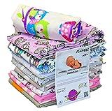 Babymajawelt® Moltontücher SOFT - Flanell Weiss / Bunt Mix 70x80 cm, Schnuffeltuch Schmusetuch Spucktücher, Wickelunterlage (Mädchen, 10 Pack)