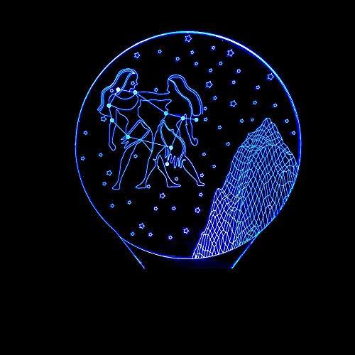 GZGNL Géminis 3D Led Dormitorio Lámpara de Mesa Constelación Noche Estrellada Luz Visión Decoración Bebé Sueño Luz Nocturna Romántica Lámpara de Noche Regalos Remoto