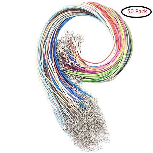 Febbya Cordón de Algodón Encerado,1.5 mm Encerado Cadenas 50 Pack Cordón para Joyas con Corchete Cadena para Collar Pulsera Abalorios DIY Multicolor