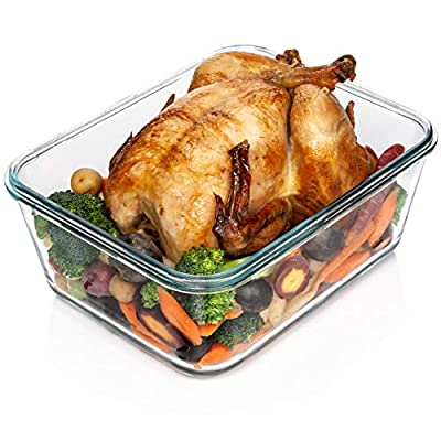 14 Cup/ 112 oz LARGE Glass Food Storage Container with Locking Lid. Ideal for Storing food, Vegetables or Fruits. Baking Casserole, Lasagna, Baking, Roasting chicken & lot of other tasty Food BPA Free