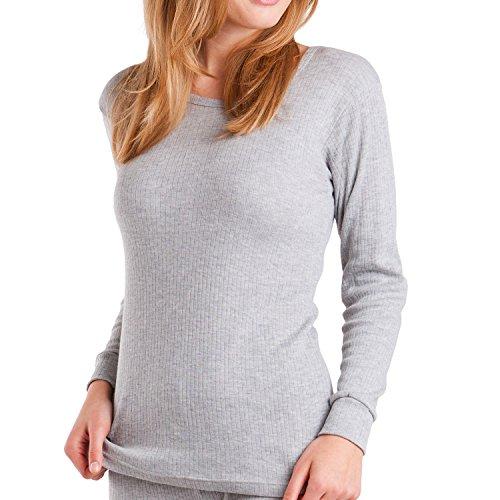 MT Damen Ski- & Thermohemd - warme Unterwäsche lang mit Innenfleece - Sports Grey M
