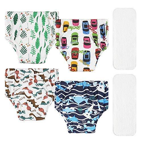 Lictin Pantalones de Entrenamiento para Bebé- Pañal de Aprendizaje para Bebés con 4 Ropa Interior Pantalones de Entrenamiento Orinal y 2 Reutilizables Pañales de Tela Talla (3.5-4.5 años)