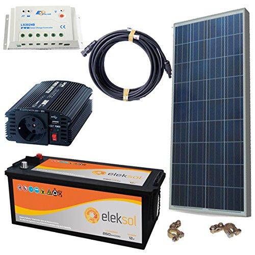 Kit Solaire photovoltaïque étanche 500 W avec Plaque de 140 W, Batterie AH, régulateur lks 10Ah, ondulateur elecsol 500 W, câblage, vis et Instructions de Montage en Espagnol