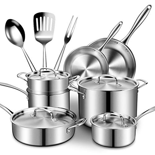 Stainless Steel Cookware Set 14-Piece, Professional Tri- Ply Pans and Pots Set- Fry Pan, Sauce Pan, Stock Pot with Lids for Stovetops/Induction, Dishwasher/Oven Safe/Toxin Free/Rustproof