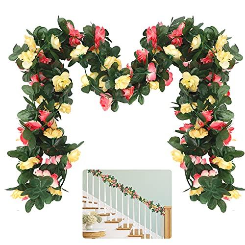 2 guirnaldas de rosas artificiales, 2,5 m de seda artificial, flores de vid con hojas verdes, plantas colgantes para decoración del hogar, decoración de arco de boda, decoración de telón de fondo
