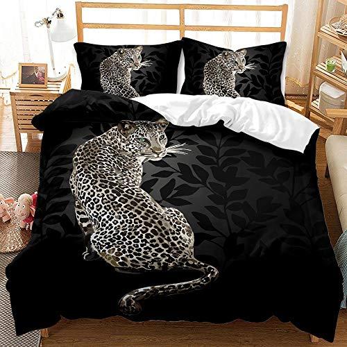 Copripiumino Una Piazza e Mezza Leopardo Nero Copri piumino 200x200 in Microfibra Set di Biancheria da Letto con Chiusura a Cerniera con 2 Federe 50x80 cm