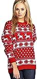 MyMixTrendz Women's Reindeer Snowflake Kids Xmas Mother Daughter Son Christmas 3-13 Year Jumper Top Size 8-26