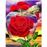 ダイヤモンドペインティング フルドリル 赤いバラ 大人用5D DIYキットダイヤモンドの絵画のためのラインストーン結晶描画ギフトクロスステッチ 刺繍キット モザイクアート ハンドメイド家の壁の装飾Square Drill,70x90cm