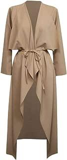Womens Overcoat Windbreaker Ladies Maxi Long-Sleeve Waterfall Belted Duster Jacket Coat Outwear DongDong