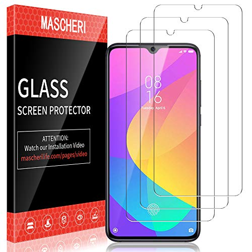 MASCHERI Protector de Pantalla para Xiaomi MI 9 Lite Cristal Templado, [3 Unidades] Vidrio Templado Protector Pantalla para Xiaomi MI 9 Lite - Transparente