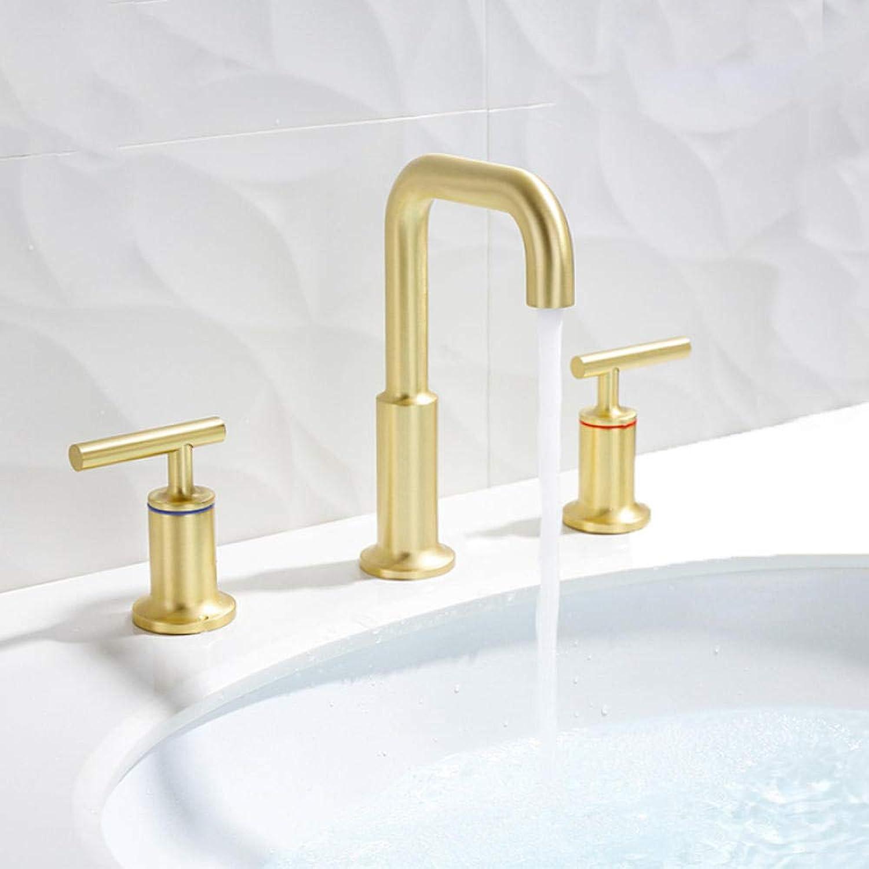 Gebürstetem Gold Becken Wasserhahn Arbeitsplatte InsGrößetion Doppelgriff heies Wasser kalt Wasserhahn Bad Dusche Wasserhahn Becken Badewanne Wasserhahn