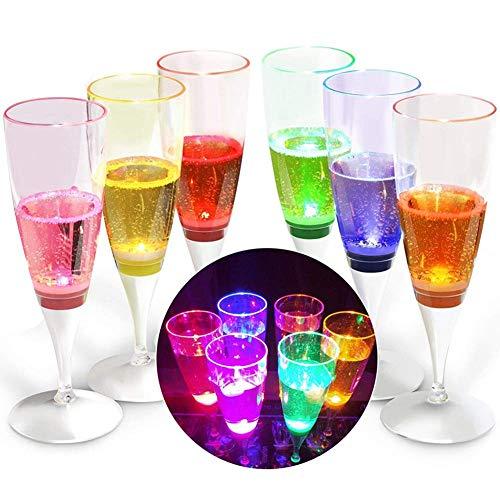 YANX Copa de Champán de LED Líquido Activado Copas Vino Champagne Glasses para Fiestas, Bar, Boda, Festival (Paquete de 6...