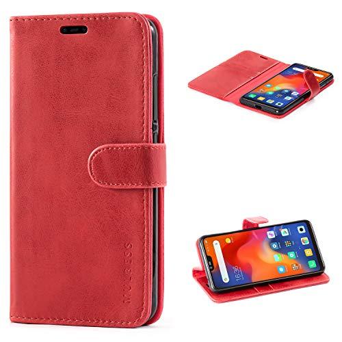 Mulbess Handyhülle für Xiaomi Mi 8 Lite Hülle Leder, Xiaomi Mi 8 Lite Handy Hüllen, Vintage Flip Handytasche Schutzhülle für Xiaomi Mi 8 Lite Hülle, Wein Rot