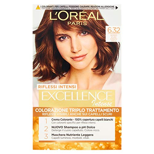 L'Oréal Paris Excellence Creme, tinte colorante con triple tratamiento avanzado, cubre los cabellos blancos 6.32 Biondo Scuro Dorato Perla