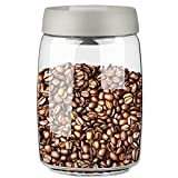 Gutesem Coffee Canister with Vacuum Pump Airtight Glass Storage Container for Coffee and Food BPA Free Jar 40oz Grey