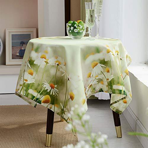 ARTABLE Mantel cuadrado y rectangular impermeable para mesa, funda de cojín, diseño de margaritas con estampado de flores, decoración del hogar y jardín (impresión, 85 x 85 cm)