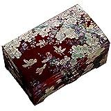 Joyero Caja De Almacenamiento De Joyería De Madera Caja De Laca Retro para El Hogar De Doble Capa Gran Capacidad con Cerradura Regalo De Boda para Damas (Color : Red, Size : 18.2x8.6x11.2cm)