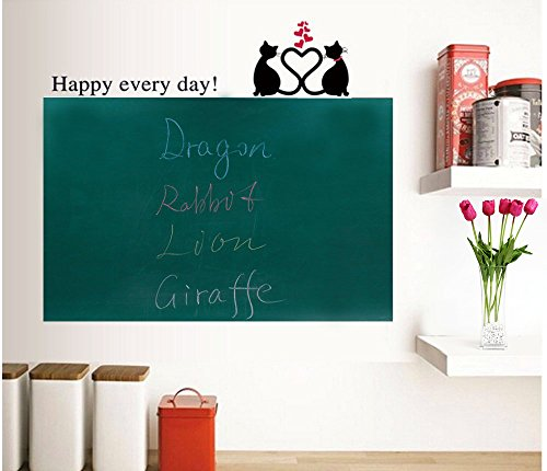 Rabbitgoo Self-Adhesive Wall Sticker Wall Paper Greenboard Sticker Chalkboard Contact Paper (Green) 17.7 by 78.7 Inches with 5 Free Chalks for School/ Office/ Home