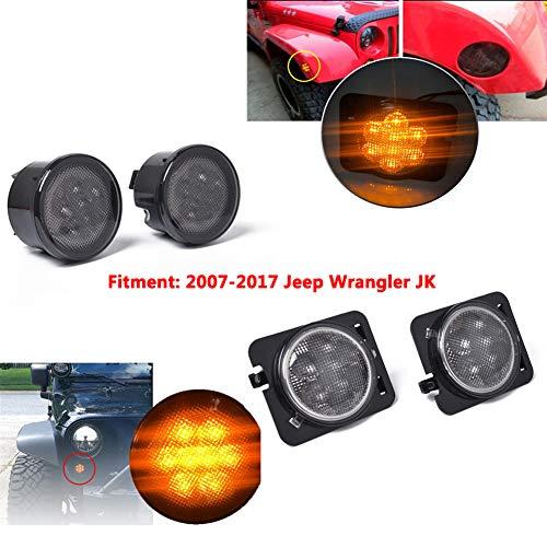 DishyKooker 4 Piezas de Luces LED Delanteras de Giro + Lente de luz Lateral Combo para 2007-2017 Je-EP Wrangler JK lámpara