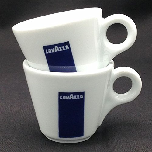 2x Lavazza Espresso Porzellantassen von Hollands Plastics mit Untertassen und Löffeln