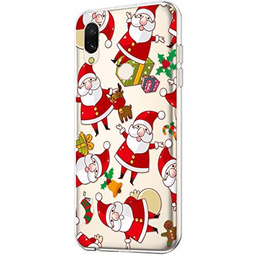 Funda para Xiaomi Redmi Note 7, diseño de copo de nieve de Navidad transparente de vidrio suave, TPU ultrafino, transparente, flexible, de goma de gel TPU para Xiaomi Redmi Note 7...