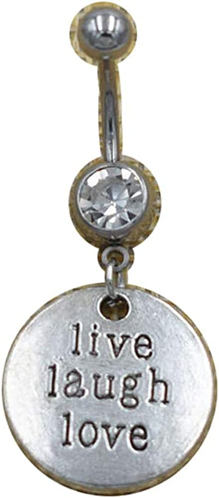 New Round Lettering Live Laugh Love Pendant Dangle Belly Button Rings Curved Bar Piercings Navel Crystal Body Jewelry