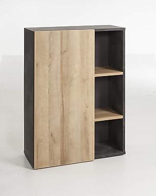 Marque Amazon - Movian Bibliothèque à 1porte et 2étagères, 80x111x35cm, Gris foncé/finition chêne