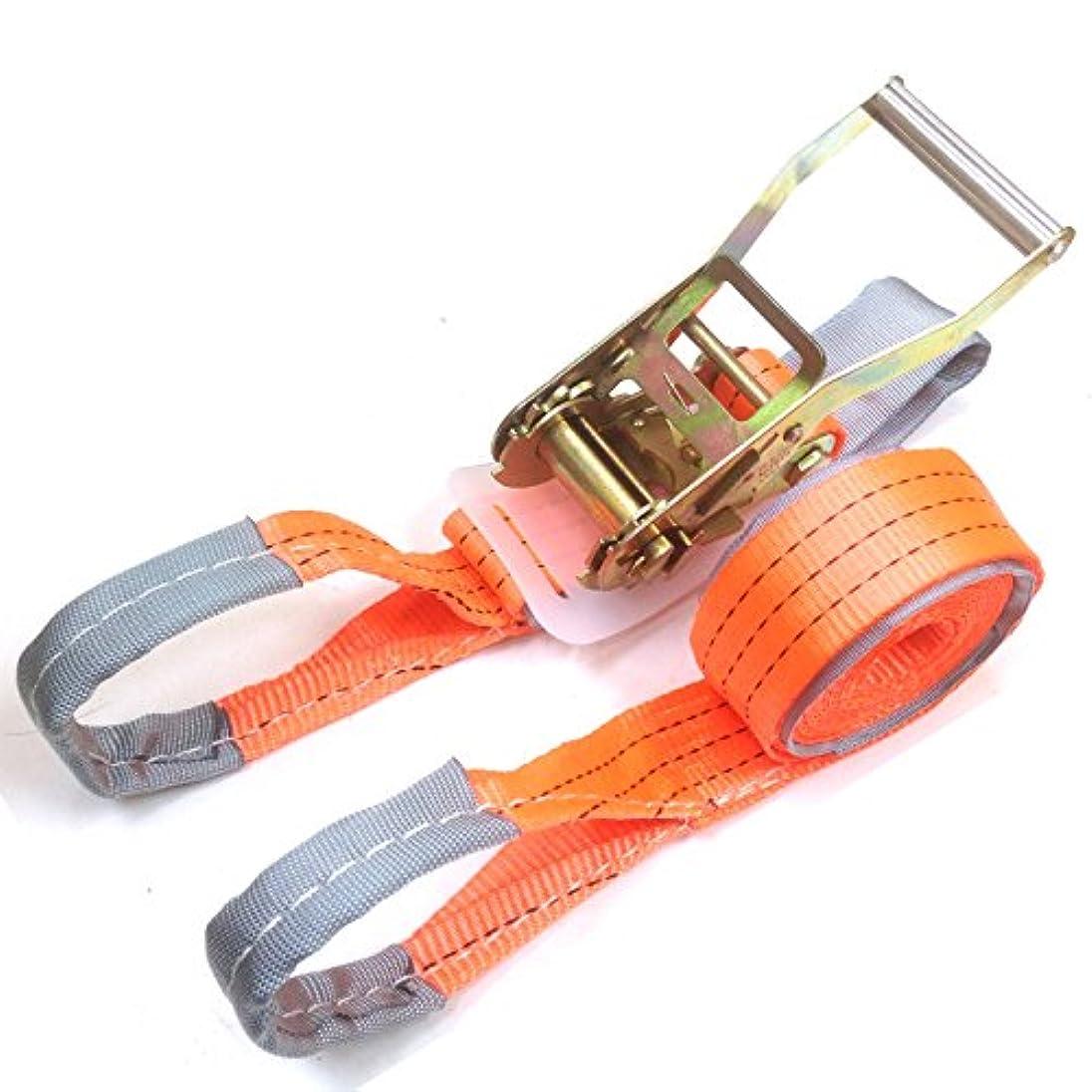 鼓舞する深さ狂気ラチェット式ラッシングベルト ワッカ 固定側1m 巻側5m 破断荷重2.0ton ベルト幅50mm 高品質よろこび価格