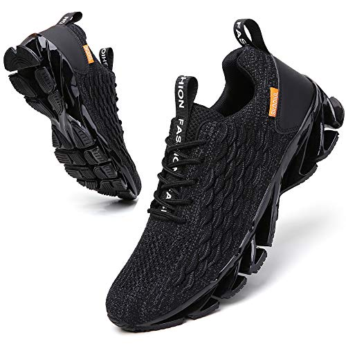 SKDOIUL Jogging Shoes for Men mesh Breathable Comfort Fashion Sport Running Walking Shoes Man Runner Jogging Sneakers Athletic Tennis Trainers All Black Size 8.5