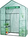 VEIKOU Portable Walk-in Greenhouse for Outdoors with Shelves and Windows, Small Mini Green House for Plants Growing, 56'' x 56'' x 77''
