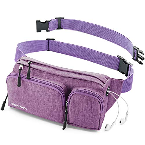 Large Fanny Pack Women Men Purple Girls Man Boy Cute Cool Waist Bag Dad Mom Hiking Travel Camp Swim Running Money Belt Roomy Beach Dog Walking Sport Phone Wallet Gun Gym Hip Bum Festival XL Big