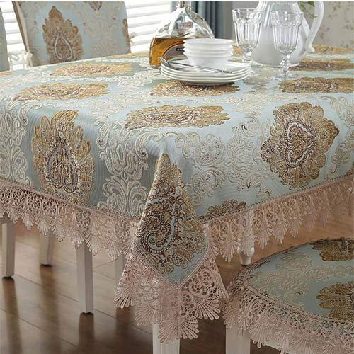 DAKEUR Mantel de té Europeo, Mantel Rectangular para Sala de Estar Familiar, Mantel de Encaje Cuadrado 110 * 160 cm Mantel Azul