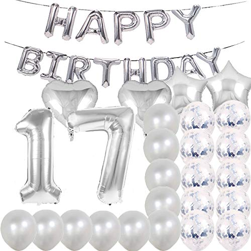 Sweet 17th Birthday Decorations Party Supplies,Silver Number 17 Balloons,17th Foil Mylar Balloons Latex Balloon Decoration,Great 17th Birthday Gifts for Girls,Women,Men,Photo Props