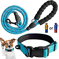 🐕【Comfortable Material】Our dog leash with EVA wave foam handle, soft and comfortable / Our collar with diving foam inner, soft and comfortable, breathable, even if walking the dog will not wear hair and skin for a long time . 🐕【High Visiblity at Nigh...