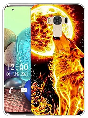 Sunrive Funda Compatible con ASUS Zenfone 3 MAX ZC553KL, Sunrive Silicona Slim Fit Gel Transparente Carcasa Case Bumper de Impactos y Anti-Arañazos Espalda Cover(X Lobo)