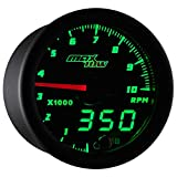 MaxTow Double Vision 10,000 RPM Tachometer Gauge - for 1-10 Cylinder Gas Powered Engines - Black Gauge Face - Green LED Illuminated Dial - Analog & Digital Readouts - 2-1/16' 52mm