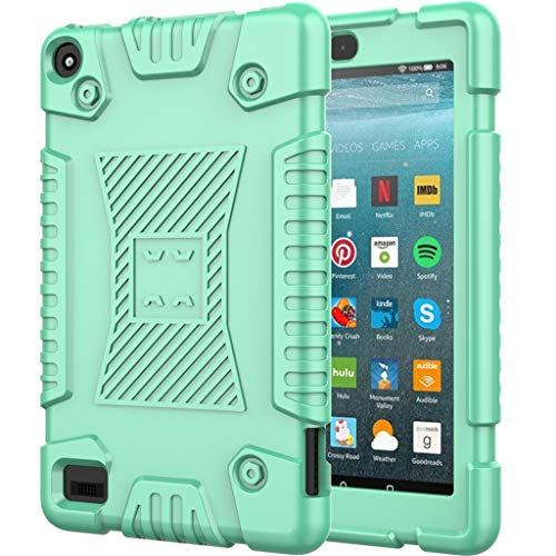 Kids Case for All-New Kindle Fire 7 2019 Soft Silicone + Hard PC Shock-Proof Rugged Case Cover JKRED