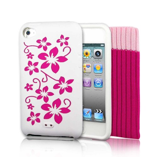 "Produktbild KOLAY - ""Pink Flowers"" Silikonhülle Case Schutzhülle + Schutzsocke und Displayschutzfolie für Apple iPod Touch 4th Generation 8GB,  32GB,  64GB + Screen Protector Kit & Touch 4G Pink Sock"