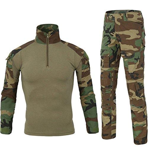 QCHENG Taktisches Hemd Militärhemd und Hose Airsoft Männer Langarm BDU Combat Camouflage Camo Kampf T-Shirt für Tactical Paintball Uniform Armee (Grün S)