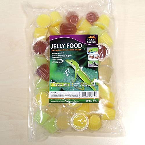 Terra Exotica Jelly Food - Tropic-Mix 50 Stück im Beutel, Fruitjelly, Beetlejelly - 50 x je 16g / Banane, Mango, Melone, Pfirsich und Traube je 10 x