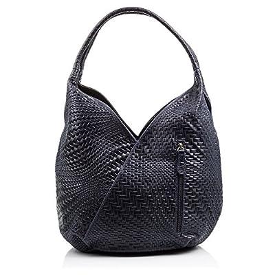 FIRENZE ARTEGIANI.Bolso shopping bag de mujer piel auténtica.Bolso cuero genuino grabado con motivo trenzado geométrico y lacado. MADE IN ITALY. VERA PELLE ITALIANA