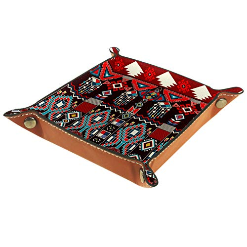 MUMIMI Bandeja organizadora para anillos de joyería, para decoración del hogar, para cumpleaños, boda, día de la madre, patrón azteca mexicano