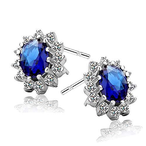Cestbon 925 Sterling Silber Diamant Kristall Ohrringe Zirkonia, Ohrstecker Silber 925 Damen Ohrringe Mit AAA Zirkonia,Blau